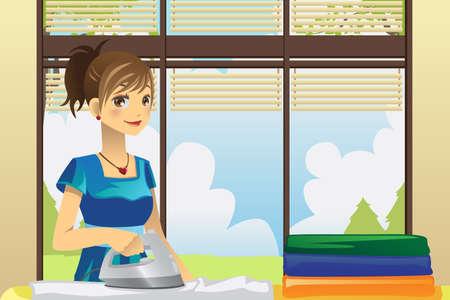 ama de llaves: Una ilustraci�n vectorial de un ama de casa la ropa de planchar en su casa Vectores