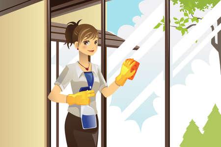 chores: Een vector illustratie van een huisvrouw het reinigen van ramen in huis Stock Illustratie