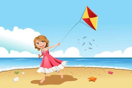 Een illustratie van een klein meisje vliegeren op het strand