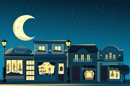 Een illustratie van de Franse boutique winkels 's nachts