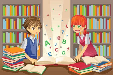 biblioteca: Una ilustraci�n de la educaci�n de los ni�os, los ni�os estudiando en la biblioteca
