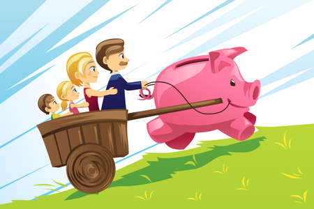 bank cart: A illustration of family financial concept