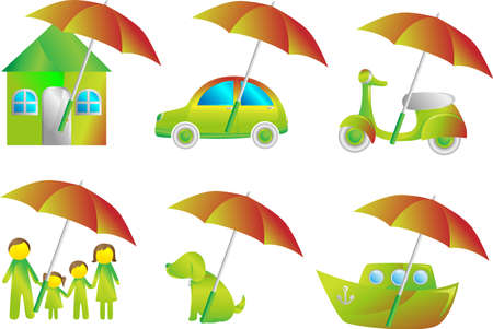 seguros autos: Una ilustraci�n de un conjunto de iconos de seguros