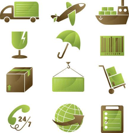 transportes: Una ilustraci�n de una colecci�n de iconos de env�o