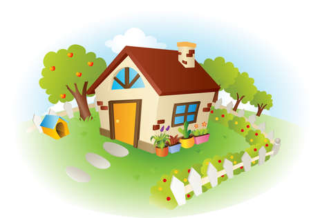 A illustration of a cute little house with garden Stock Illustratie