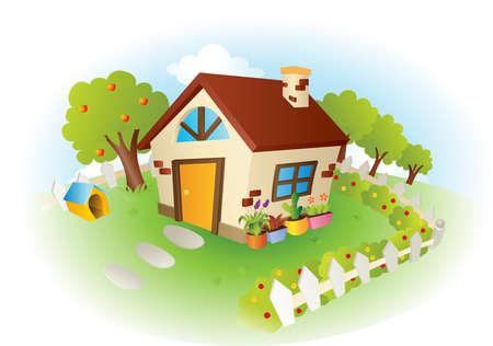modern huis: Een illustratie van een schattig huisje met tuin Stock Illustratie