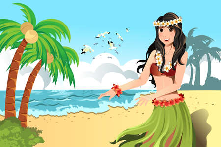 hawaiian culture: A vector illustration of Hawaiian hula dancer girl