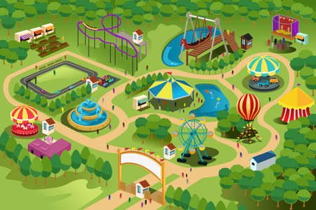 amusement park rides: A vector illustration of a map of an amusement park