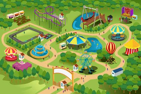 niños en area de juegos: Una ilustración vectorial de un mapa de un parque de diversiones
