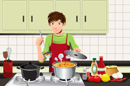 A vector illustration of a young man cooking in the kitchen Stock Illustratie