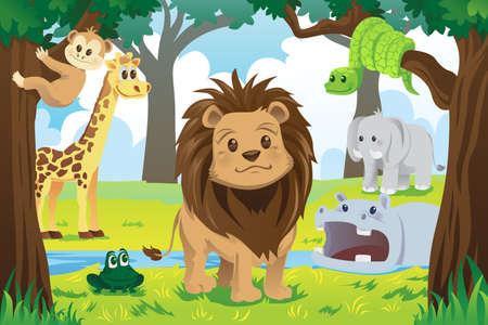 cartoon for�t: Une illustration de vecteur d'animaux de la jungle sauvage dans le r�gne animal