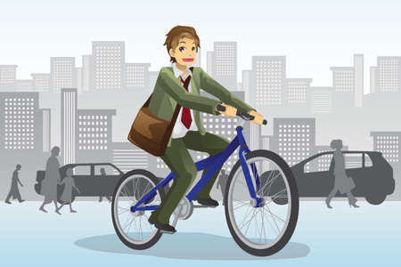 A vector illustration of a businessman riding a bicycle Vectores