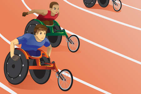 A vector illustration of athletes in wheelchair racing in a competition Vector