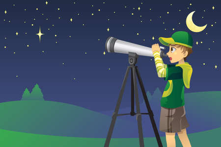 A vector illustration of a young boy looking at stars in the sky using a telescope Vector