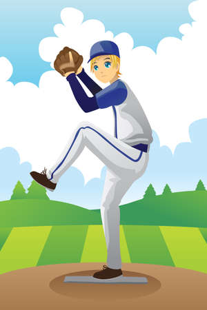A vector illustration of a baseball player getting ready to throw a baseball Vector