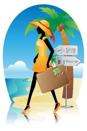 voyage: Une illustration de vecteur d'une femme qui va pour un voyage de vacances d'été