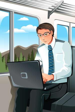 電車の中で働くビジネスマンのベクトル イラスト