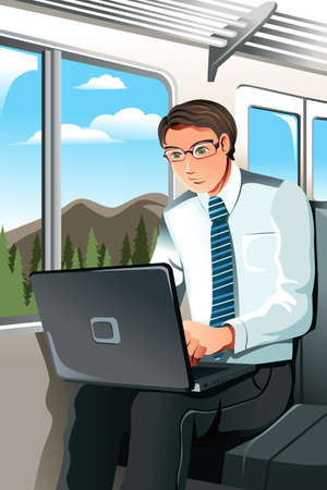 A vector illustration of a businesswoman working in the train Ilustração