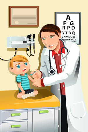 vaccination: A vector illustration of a pediatrician giving a shot to a little child
