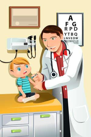 Een vector illustratie van een kinderarts het geven van een shot van een klein kind