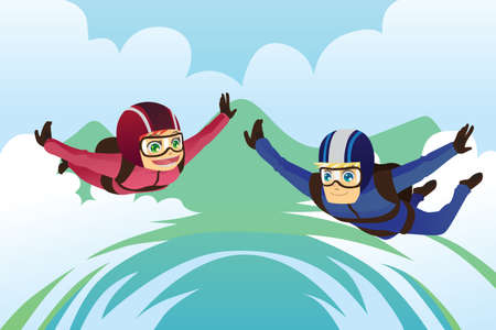 skydiving: A vector illustration of a skydiving couple