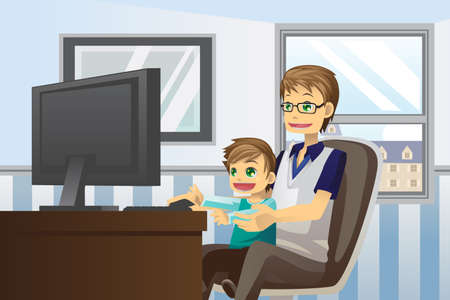 A vector illustration of a father and his son using a computer at home