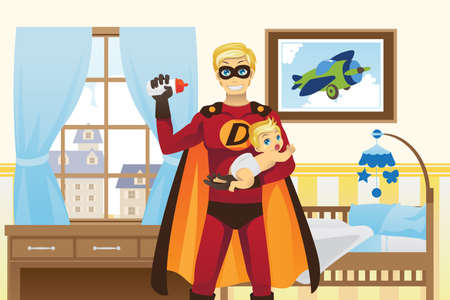 A vector illustration of a father dressed in superhero costume feeding his baby boy 向量圖像