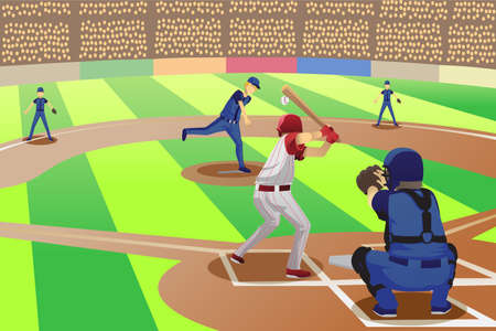 baseball stadium: A vector illustration of baseball players playing in a baseball game