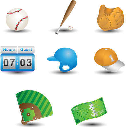 A vector illustration of a set of baseball icons Vector
