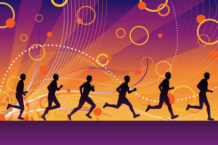 group fitness: A vector illustration of running silhouette people  Illustration