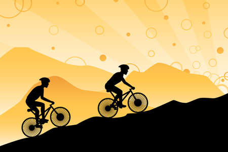 A vector illustration of a group of silhouette mountain bikers Vector