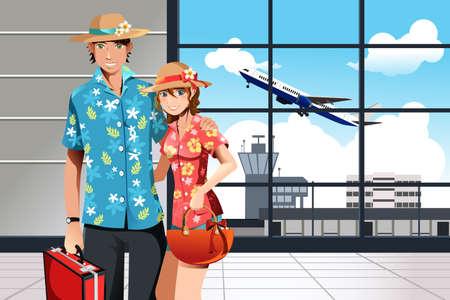 Een illustratie van een paar op de luchthaven zich klaar voor de zomer op reis