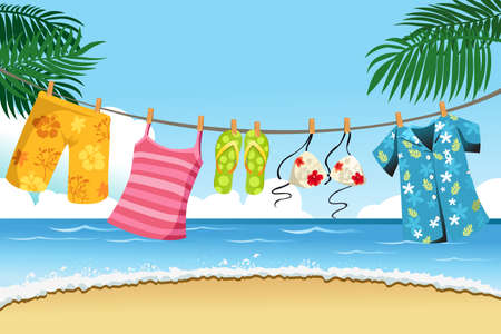 clothes hanging: A illustration of summer clothes drying outdoor