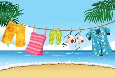 clothes washing: Una ilustraci�n de la ropa de verano al aire libre de secado