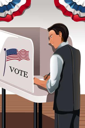 투표 부스에 사람이 투표의 그림 일러스트