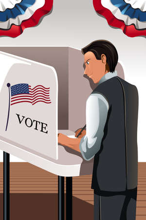 voting rights: A illustration of a man voting in the voting booth