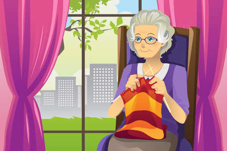 A illustration of a senior woman knitting