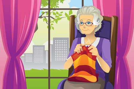 personas mayores: Una ilustración de una mujer mayor de tejer