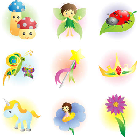 A illustration of fantasy fairy icons Vector