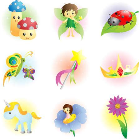 hadas caricatura: Una ilustración de fantasía iconos de hadas