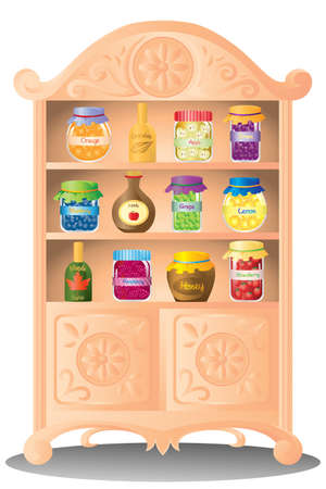 cocina caricatura: Un ejemplo de conservas mermelada de fruta y jarabe en el estante