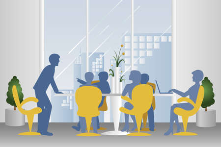 A illustration of business meeting in silhouette