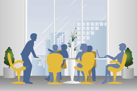 Une illustration de la réunion d'affaires en silhouette