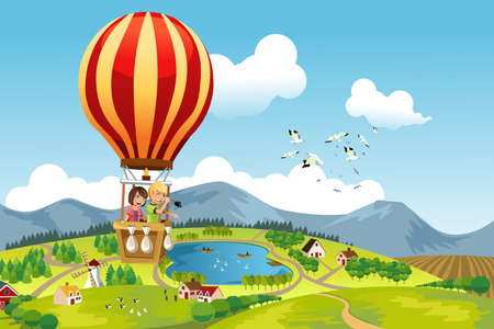 A illustration of two kids riding a hot air balloon Vectores