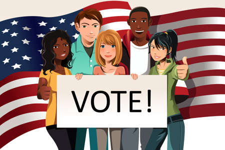 """Una ilustración de un grupo de adultos jóvenes titulares de un """"voto"""", signo"""