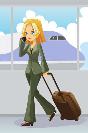 A illustration of a businesswoman talking on the phone pulling on her luggage at the airport
