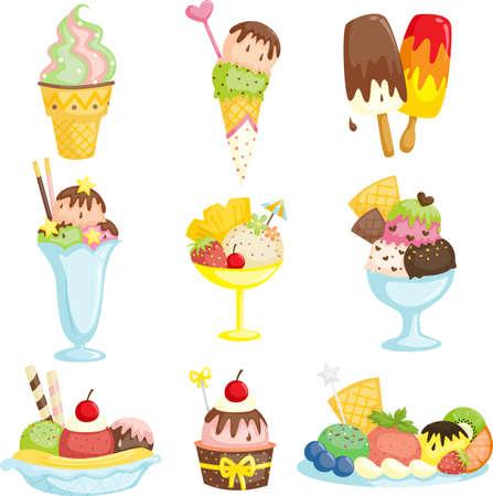 coppa di gelato: Un esempio di delizioso gelato Vettoriali