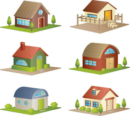 A illustration of a collection of different houses