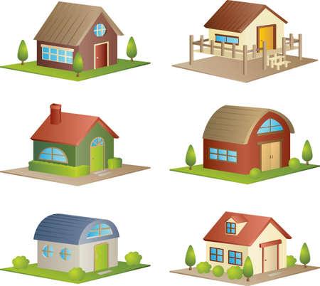 Une illustration d'une collection de différentes maisons