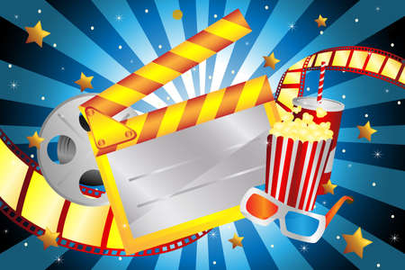 movie clapper: A illustration of bright movie background